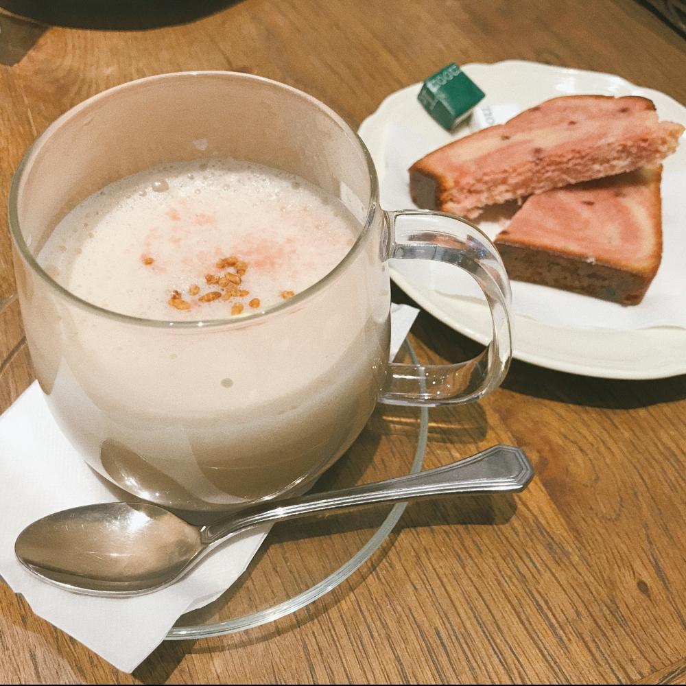 Sakura azuki cappuccino latte from Afternoon tea
